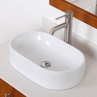 Elite High Temperature Grade A Ceramic Oval Bathroom Sink/ Faucet Combo