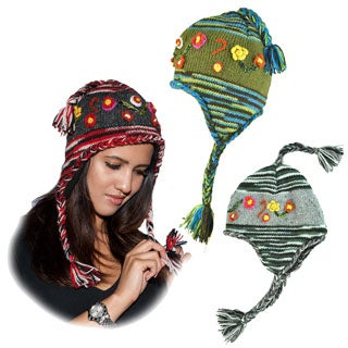 Hand-knit Floral Winter Hat (Nepal)