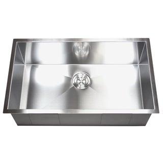 32-inch Stainless Steel Single Bowl Undermount Zero Radius Kitchen Sink 16 Gauge