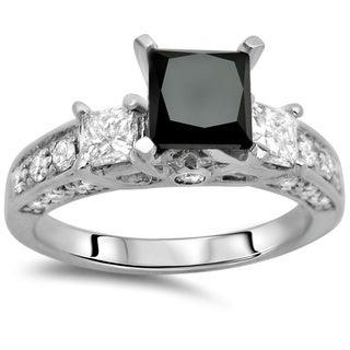 Noori 14k Gold 2 1/5ct TDW Certified Black and White Diamond Ring (F-G, SI1)