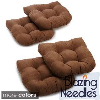 Blazing Needles 19x19-inch U-shaped Tufted Microsuede Chair Cushions (Set of 4)