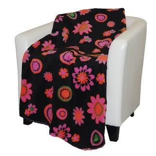 Denali Black Bold Flowers Throw Blanket