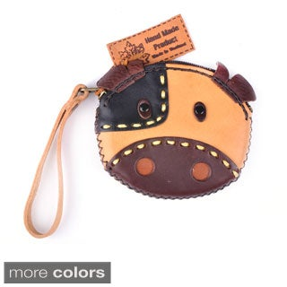 Handcrafted Animal Face Leather Wristlet Coin Purse (Thailand)