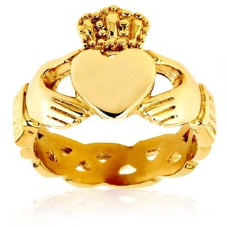 Crucible Goldplated Stainless Steel 6mm Celtic Eternity Claddagh Ring