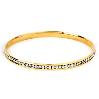 ELYA Stainless Steel Cubic Zirconia Bangle Bracelet