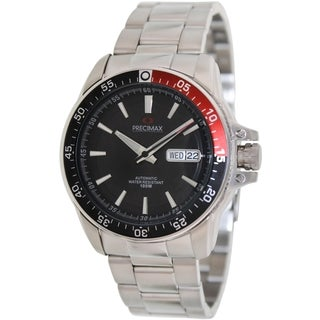 Precimax Men's Propel Automatic PX13198 Silver Stainless-Steel Black Dial Automatic Watch