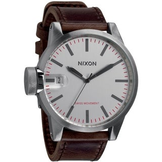 Nixon Men's Chronicle A1271113-00 Brown Leather Quartz Watch with White Dial