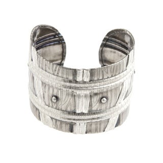 Handmade Silver Cuff Barrel Design Bracelet (India)