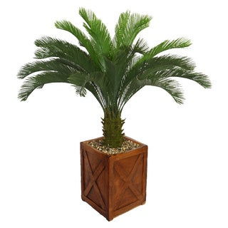 Laura Ashley 57-inch Tall Cycas Palm Tree in Fiberstone Planter