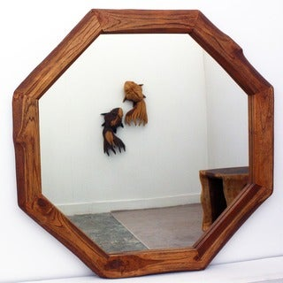 Handcrafted 34-inch Teak Octagon and DIA Oak Oil Mirror (Thailand)