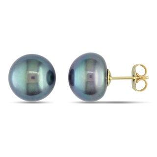Miadora 14k Yellow Gold Black Cultured Freshwater Pearl Stud Earrings (11-12 mm)