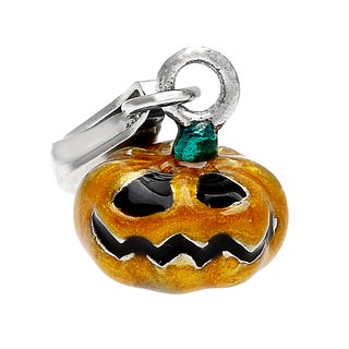 Rhodium Over Sterling Silver Orange Pumpkin Charm and Clasp