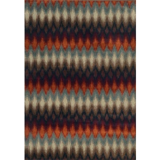 Geometric Ikat Multi/ Stone Rug (5'3 x 7'6)