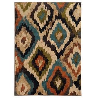 Bold Ikat Blue/ Brown Rug (5' x 7'6)