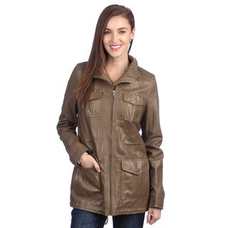 United Face Womens Washed Leather Military Jacket