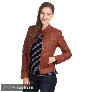 United Face Womens Leather Moto Jacket