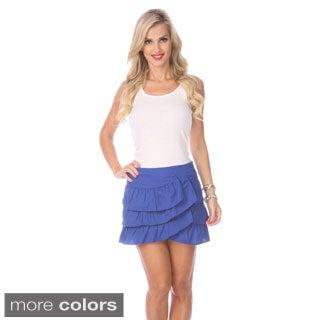 Stanzino Women's Solid Ruffled Mini Skirt