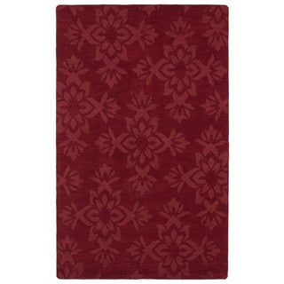 Trends Red Damask Wool Rug (5' x 8')