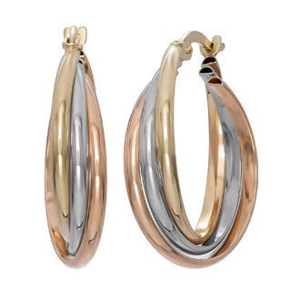 Gioelli 14k Tri-color Gold Rolling Infinity Hoop Earrings