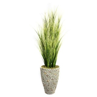 Laura Ashley 74-inch Tall Onion Grass with Twigs in Fiberstone Planter