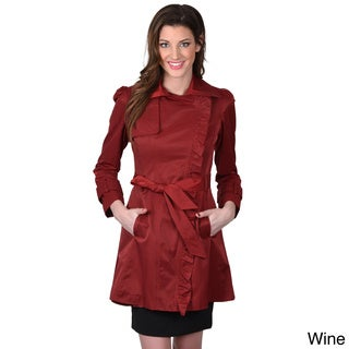 Jessica Simpson Women's Belted Ruffled Trench Coat