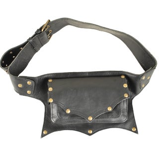 Black One-pocket Leather Fanny Pack (India)