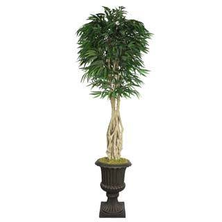 """Laura Ashley 92"""" Tall Willow Ficus with Multiple Trunks in 16"""" Fiberstone Planter"""