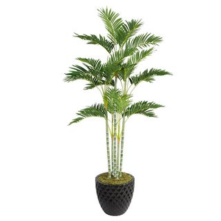 Laura Ashley 74-inch Tall Palm Tree in 16-inch Fiberstone Planter