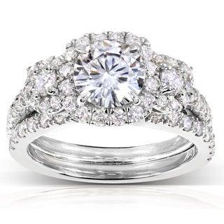 Annello 14k Gold Round Moissanite and 1 ct TDW Diamond 2-Piece Bridal Ring Set (G-H, I1-I2)