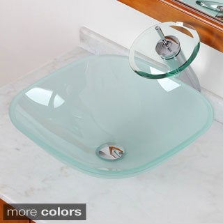 Elite Frosted Square Tempered Glass Bathroom Sink/ Waterfall Faucet Combo