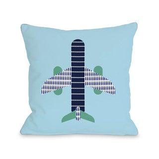 Blue Airplane Throw Pillow