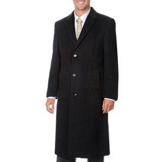 Pronto Moda Men's 'Harvard' Charcoal Cashmere Blend Long Top Coat
