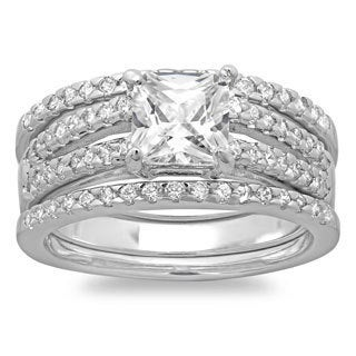 Sterling Essentials Silver Princess CZ 3-piece Bridal-style Ring Set