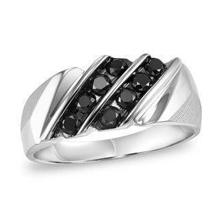 Cambridge Men's Sterling Silver 3/4ct TDW Black Diamond Double Row Ring