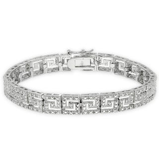 Finesque Silverplated Diamond Accent Greek Key Bracelet