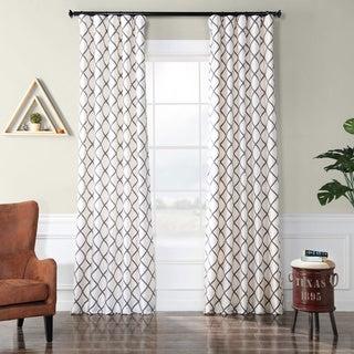 Pavillion Pearl Flocked Faux Silk Curtain Panel