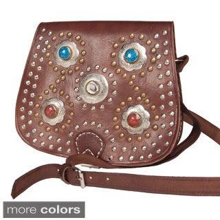Bahia Crossbody Leather Medallion Bag (Morocco)