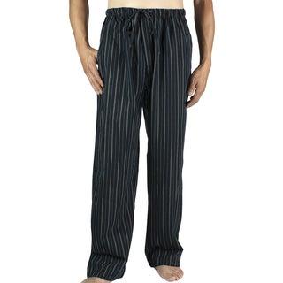 Leisureland Men's Black Stripe Cotton Poplin Pajama Lounge Sleep Pants