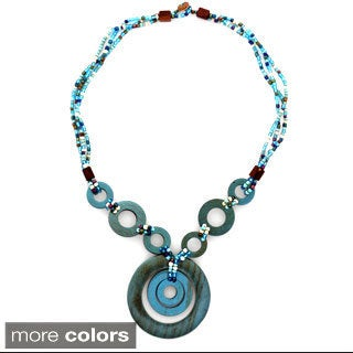 Triple Bead Strand Necklace and Triple Round Wooden Pendant (Indonesia)