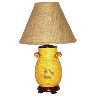 Distressed Handled Honey Mustard Pot Table Lamp