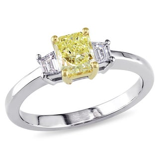 Miadora 18k Gold 4/5ct TDW Yellow Radiant Cut Diamond Ring (D-E, VS1-VS2)