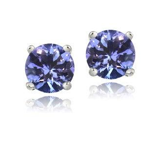 Icz Stonez Sterling Silver 6mm Blue Cubic Zirconia Stud Earrings