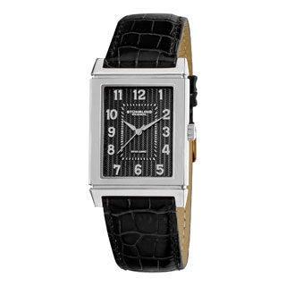 Stuhrling Original Men's Skyline Swiss Quartz Alligator-embossed Strap Watch