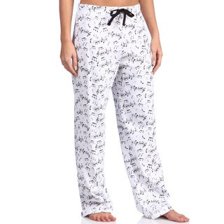 Leisureland Women's Music Notes Print Cotton Knit Pajama Pants