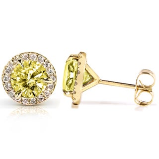 Annello 14k Gold Yellow Moissanite and 1/4 ct TDW Halo Diamond Earrings (G-H, I1-I2) with Bonus Item