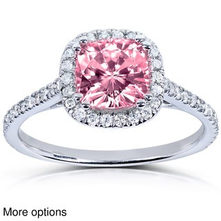Annello 14k White or Rose Gold Pink Cushion-cut Moissanite and 1/4ct TDW Diamond Engagement Ring (G-H, I1-I2)
