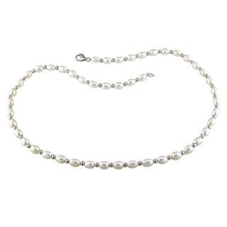 M by Miadora Sterling Silver White Cultured Freshwater Pearl Necklace (5-6 mm)
