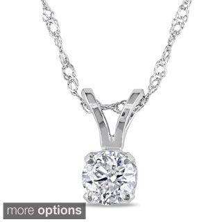 Miadora 14k Gold 1/4ct TDW Diamond Solitaire Necklace (J-K, I2-I3)