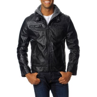 R&O Men's Faux Leather Jacket with Removable Hood and Bib