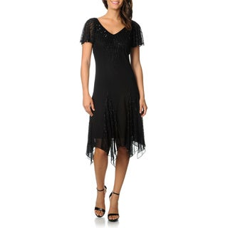 J Laxmi Women's Black Flutter Sleeve Beaded Cocktail Dress